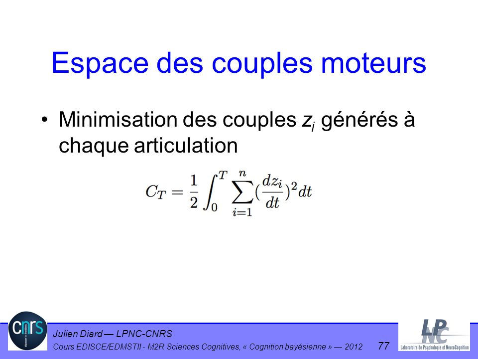 Espace des couples moteurs