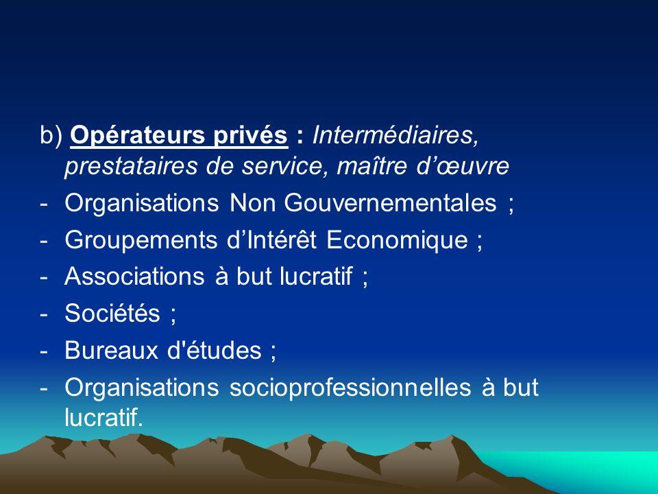 b) Opérateurs privés : Intermédiaires, prestataires de service, maître d'œuvre