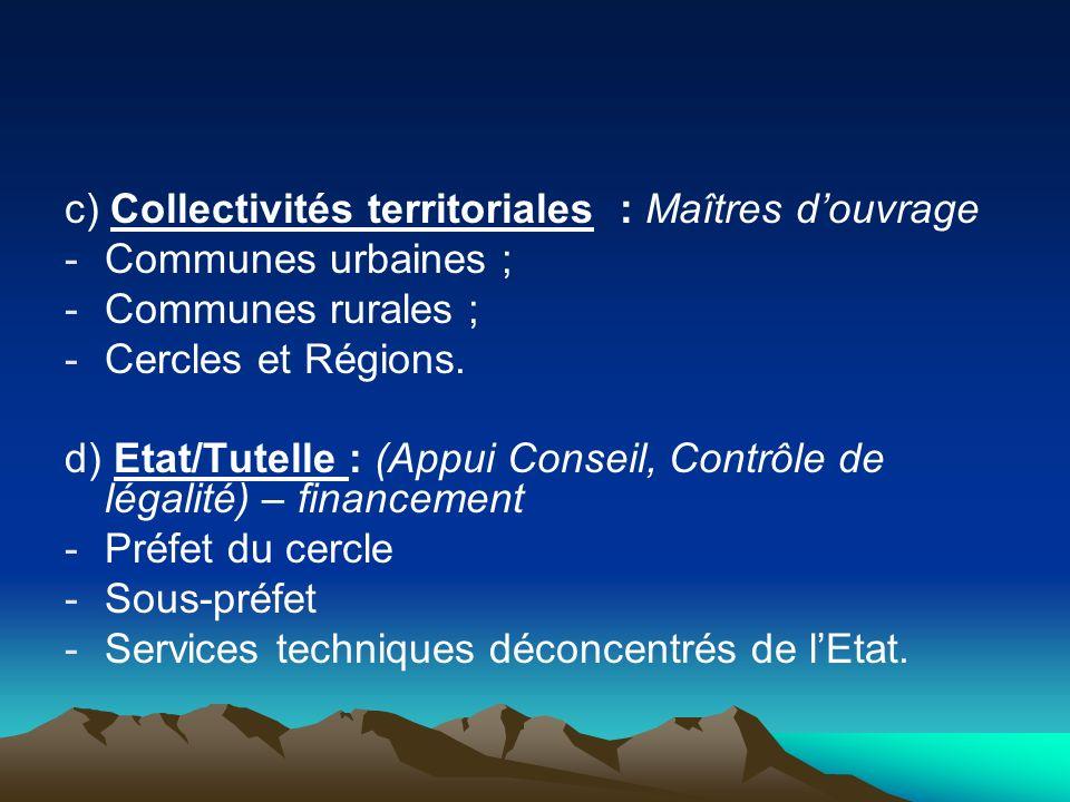 c) Collectivités territoriales : Maîtres d'ouvrage