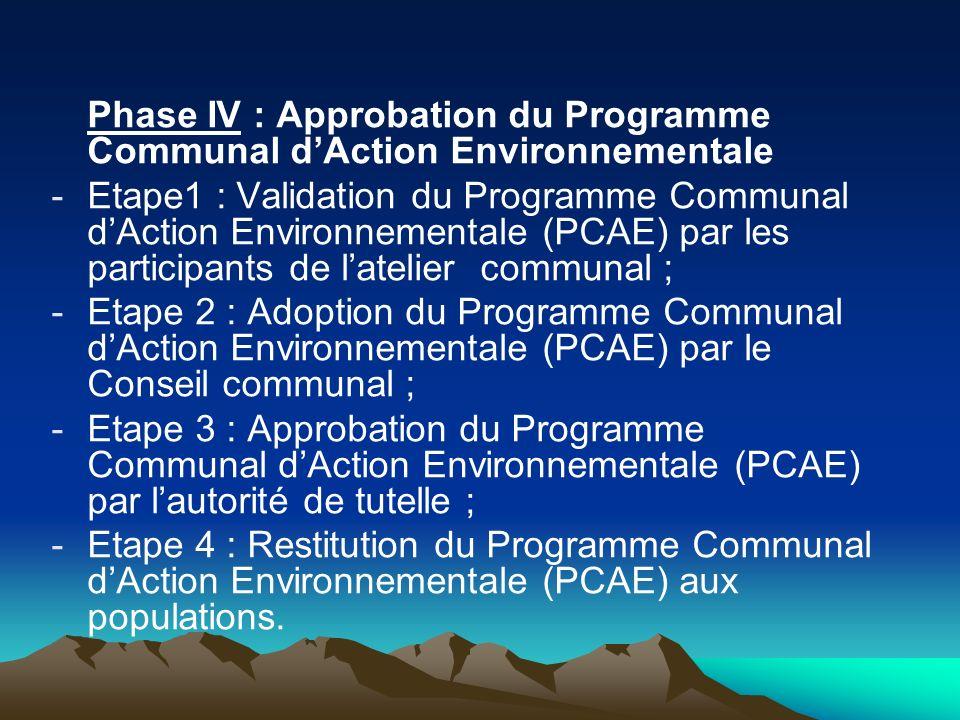 Phase IV : Approbation du Programme Communal d'Action Environnementale