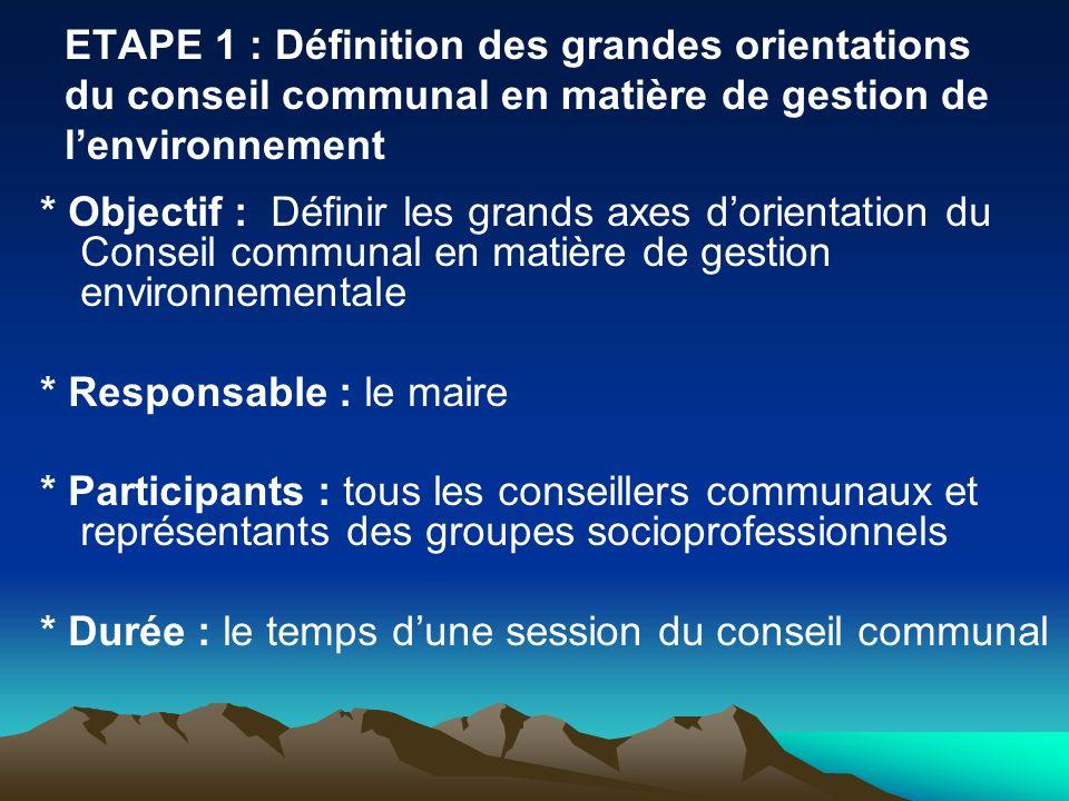 ETAPE 1 : Définition des grandes orientations du conseil communal en matière de gestion de l'environnement