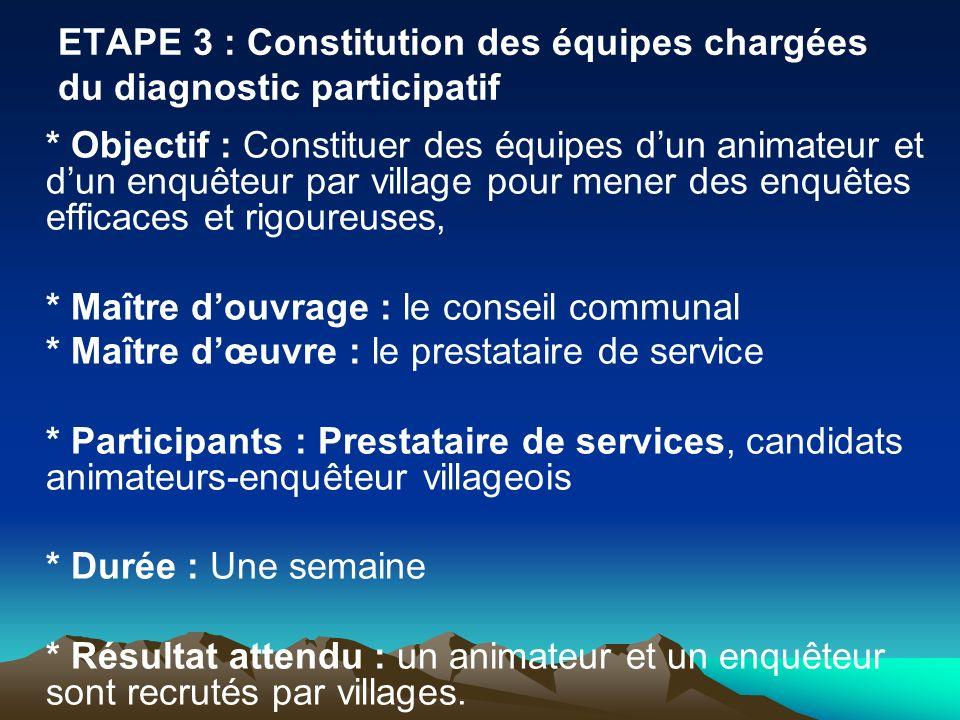 ETAPE 3 : Constitution des équipes chargées du diagnostic participatif