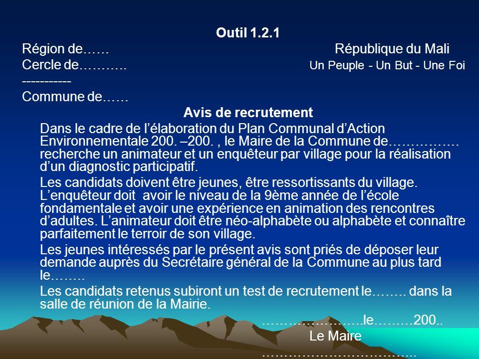 Outil 1.2.1 Région de…… République du Mali.