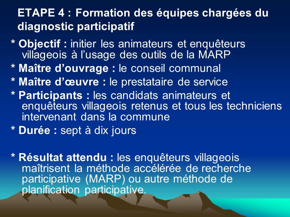 ETAPE 4 : Formation des équipes chargées du diagnostic participatif