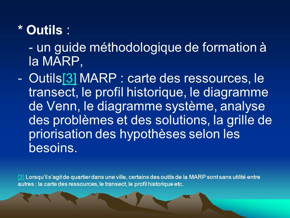 - un guide méthodologique de formation à la MARP,