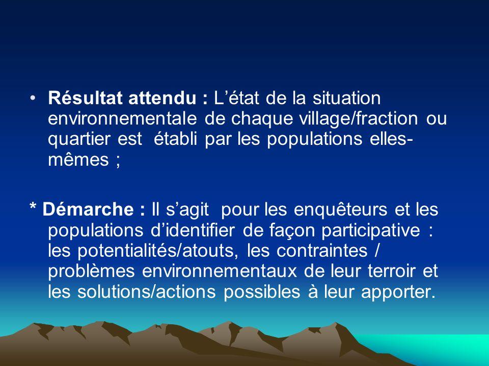 Résultat attendu : L'état de la situation environnementale de chaque village/fraction ou quartier est établi par les populations elles-mêmes ;