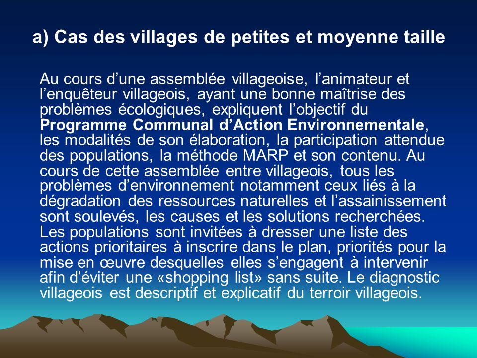 a) Cas des villages de petites et moyenne taille