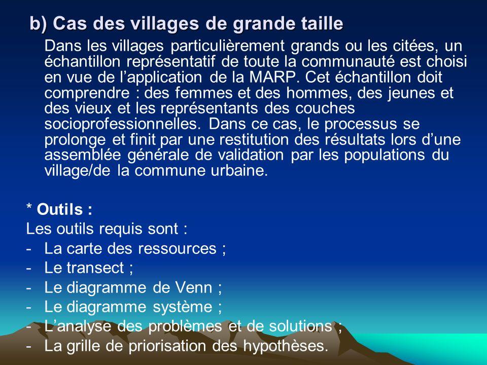 b) Cas des villages de grande taille