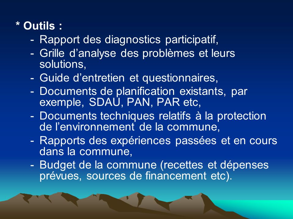 * Outils : Rapport des diagnostics participatif, Grille d'analyse des problèmes et leurs solutions,
