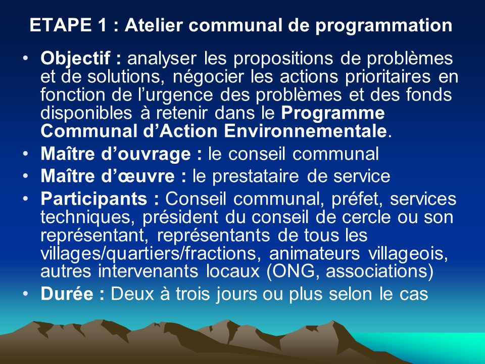 ETAPE 1 : Atelier communal de programmation