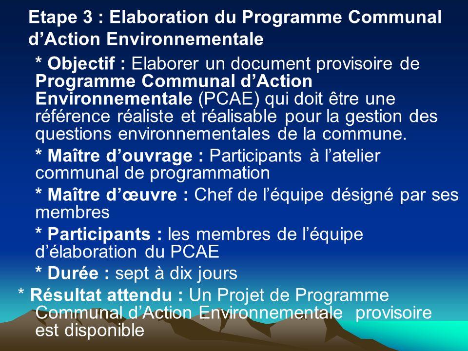 Etape 3 : Elaboration du Programme Communal d'Action Environnementale