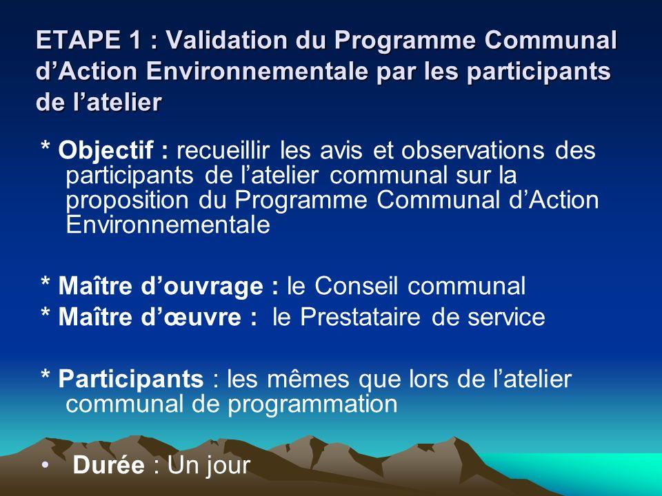 ETAPE 1 : Validation du Programme Communal d'Action Environnementale par les participants de l'atelier