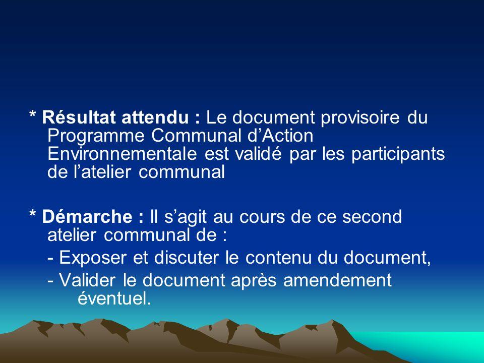 * Résultat attendu : Le document provisoire du Programme Communal d'Action Environnementale est validé par les participants de l'atelier communal