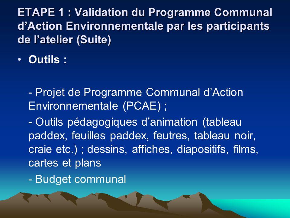 ETAPE 1 : Validation du Programme Communal d'Action Environnementale par les participants de l'atelier (Suite)