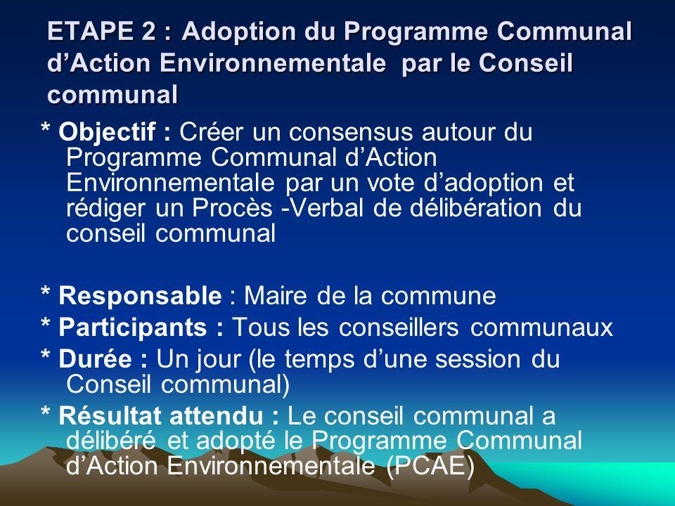 ETAPE 2 : Adoption du Programme Communal d'Action Environnementale par le Conseil communal
