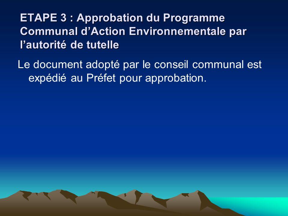 ETAPE 3 : Approbation du Programme Communal d'Action Environnementale par l'autorité de tutelle
