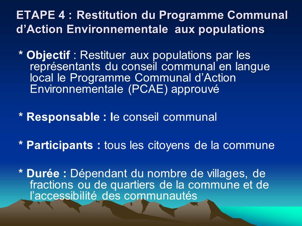 ETAPE 4 : Restitution du Programme Communal d'Action Environnementale aux populations