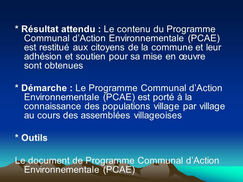 * Résultat attendu : Le contenu du Programme Communal d'Action Environnementale (PCAE) est restitué aux citoyens de la commune et leur adhésion et soutien pour sa mise en œuvre sont obtenues