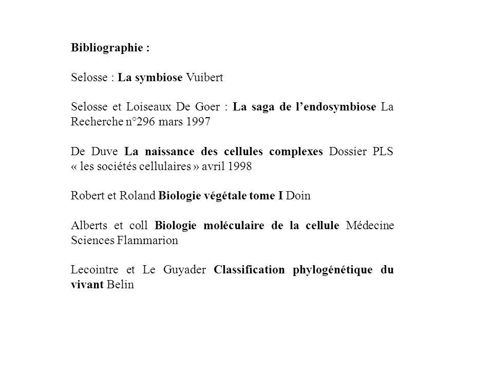 Bibliographie : Selosse : La symbiose Vuibert. Selosse et Loiseaux De Goer : La saga de l'endosymbiose La Recherche n°296 mars 1997.
