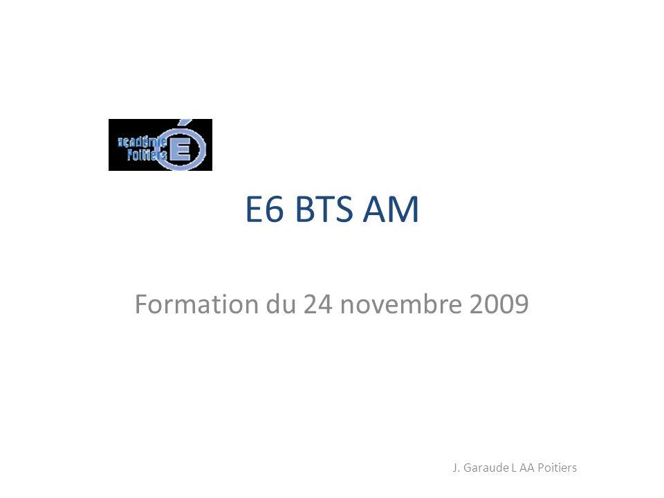 E6 BTS AM Formation du 24 novembre 2009 J. Garaude L AA Poitiers