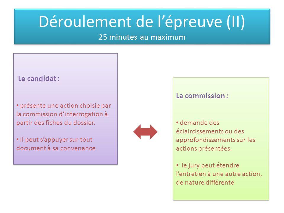Déroulement de l'épreuve (II) 25 minutes au maximum