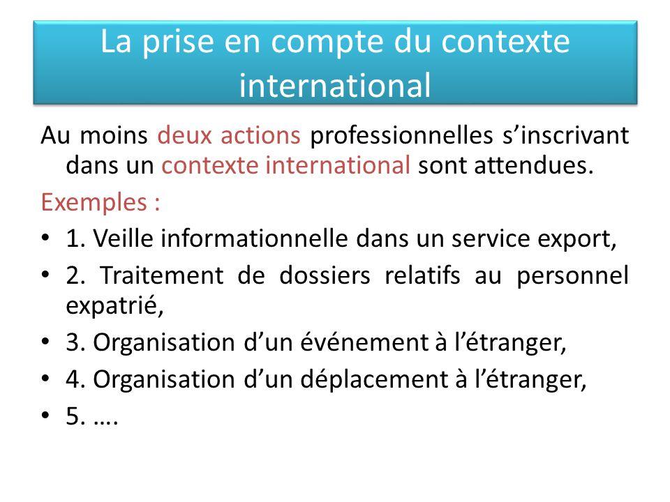 La prise en compte du contexte international