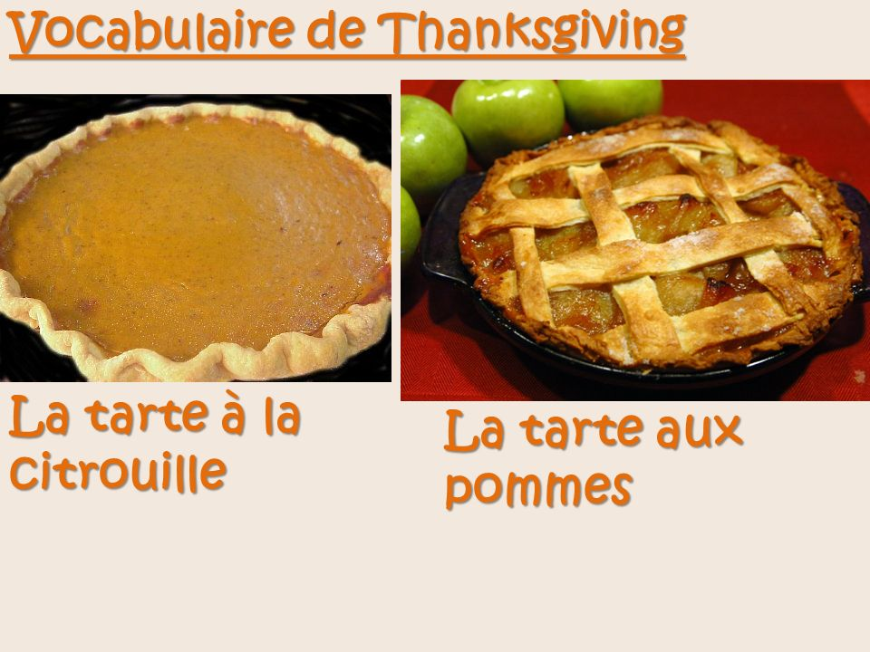 Vocabulaire de Thanksgiving