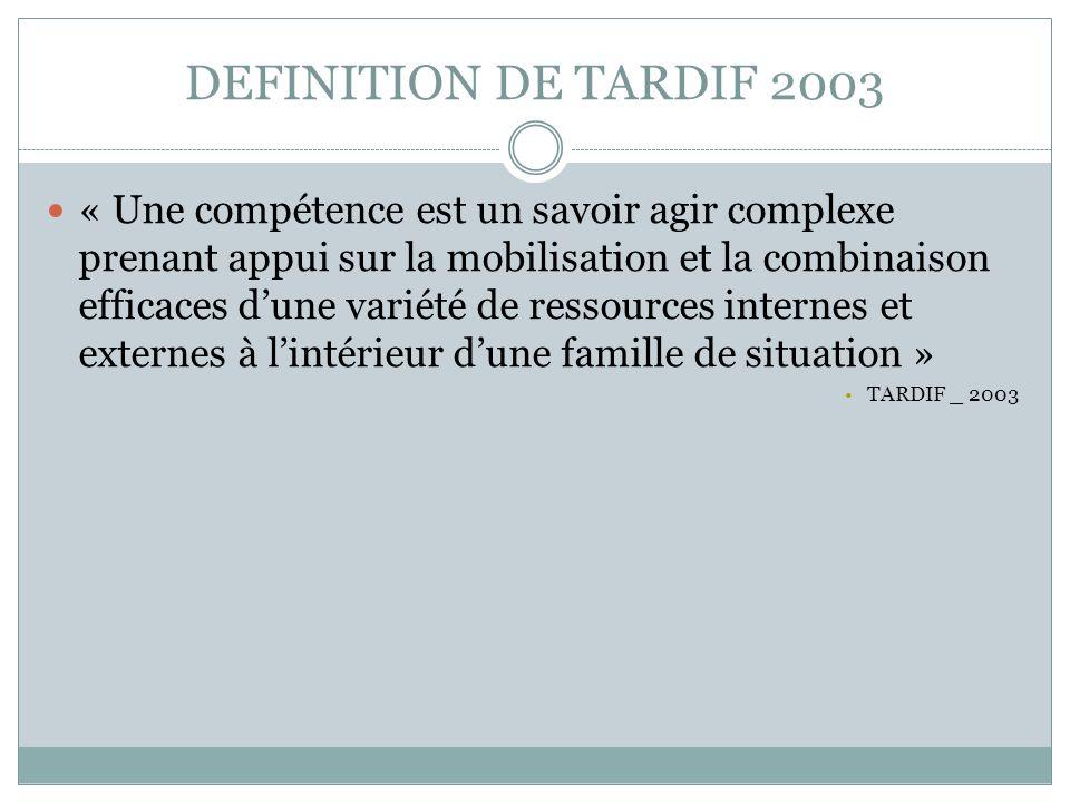 DEFINITION DE TARDIF 2003
