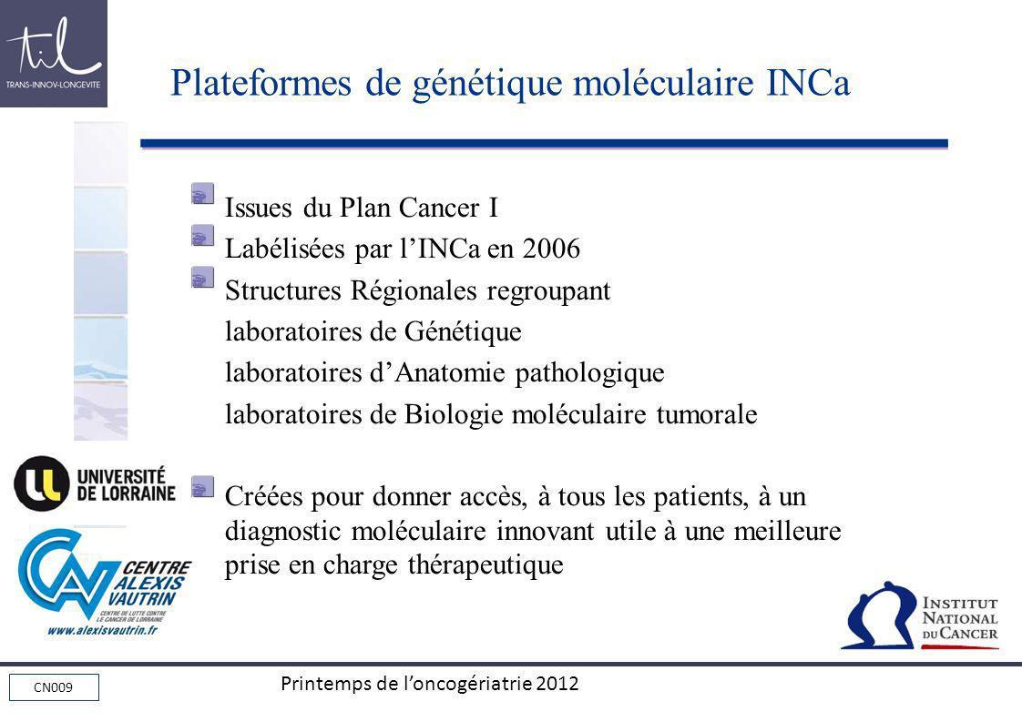 Plateformes de génétique moléculaire INCa