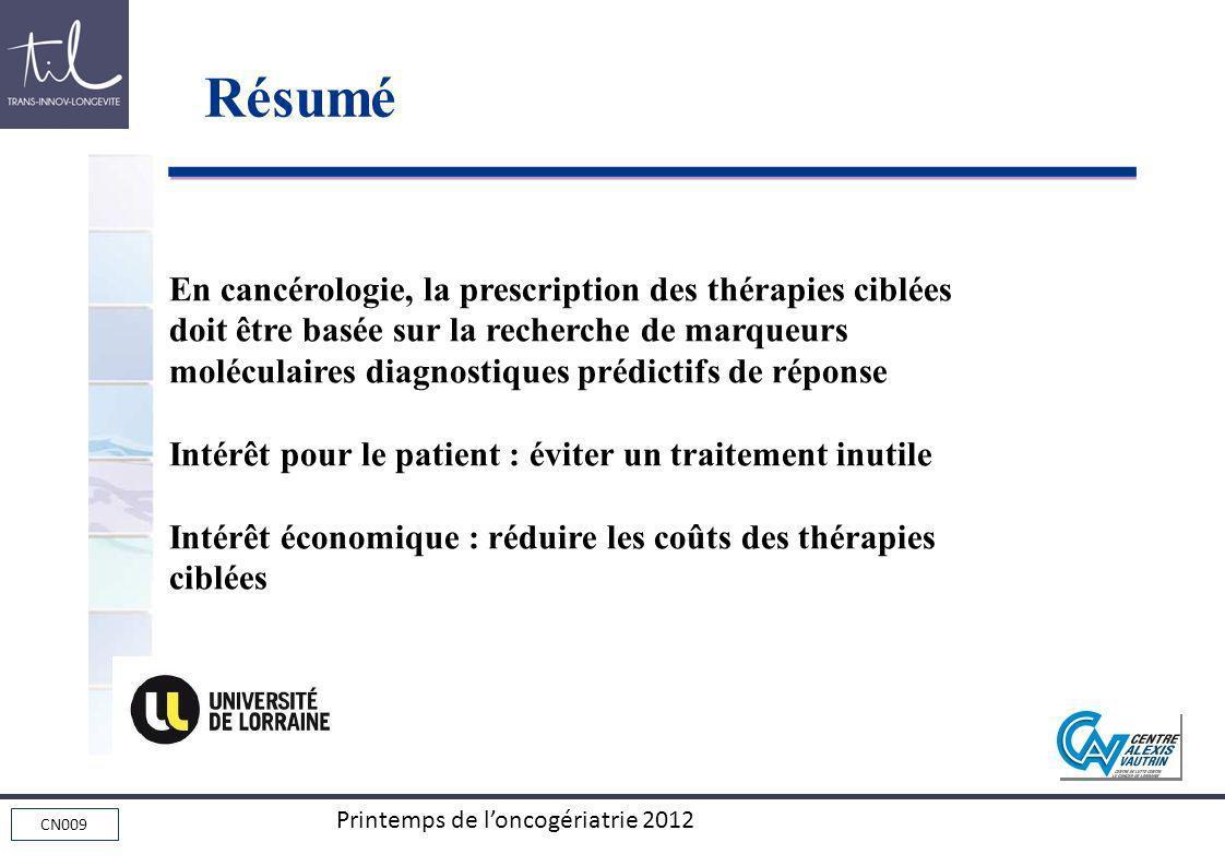 Résumé En cancérologie, la prescription des thérapies ciblées