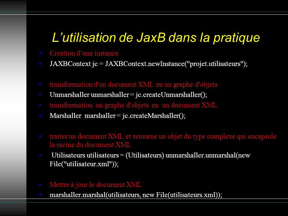 L'utilisation de JaxB dans la pratique