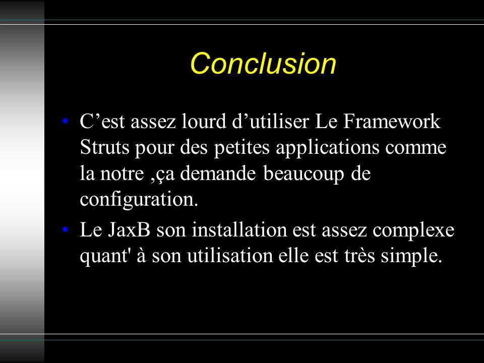Conclusion C'est assez lourd d'utiliser Le Framework Struts pour des petites applications comme la notre ,ça demande beaucoup de configuration.