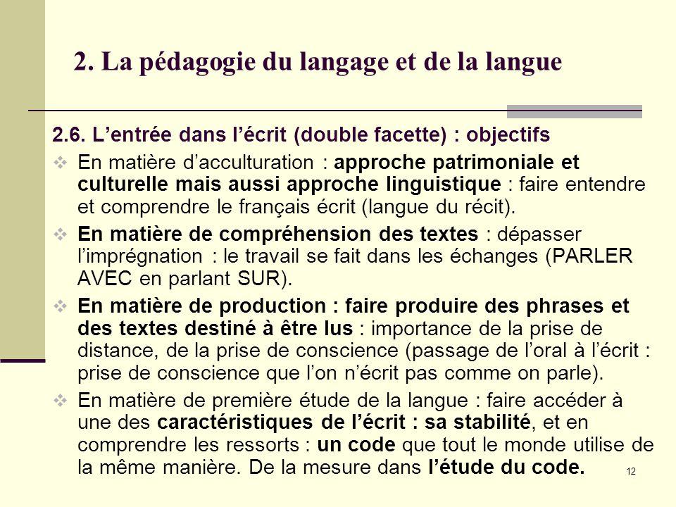 2. La pédagogie du langage et de la langue