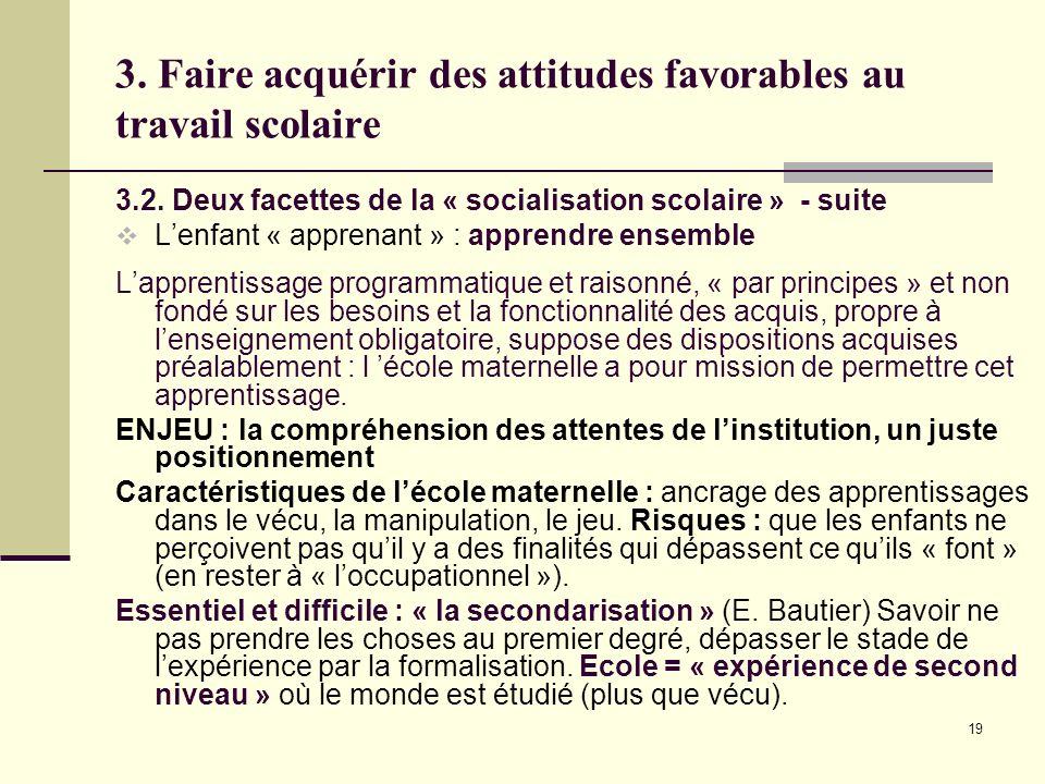 3. Faire acquérir des attitudes favorables au travail scolaire