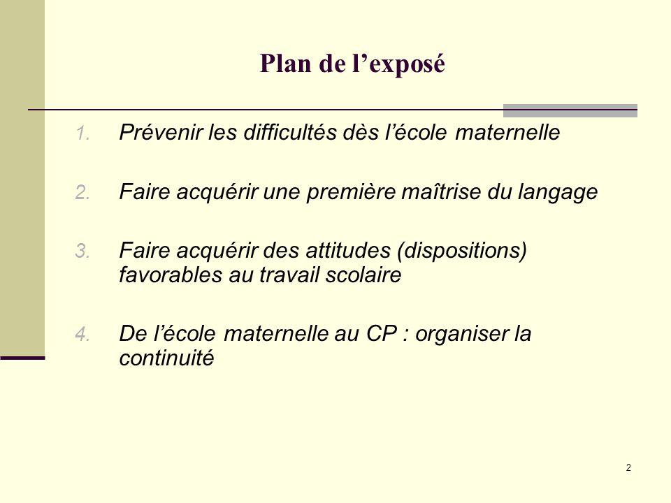 Plan de l'exposé Prévenir les difficultés dès l'école maternelle
