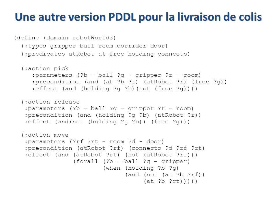 Une autre version PDDL pour la livraison de colis