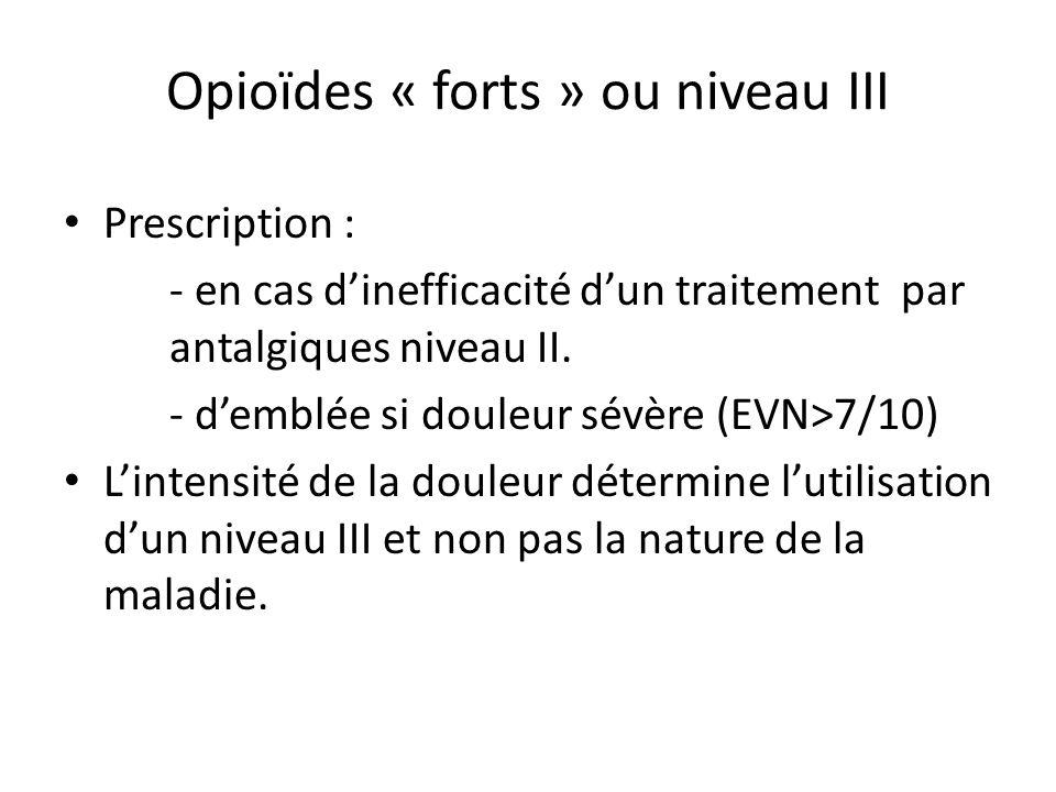 Opioïdes « forts » ou niveau III