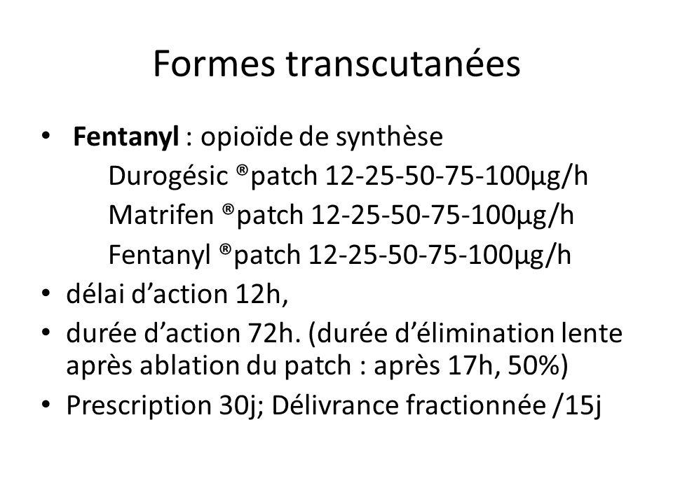 Formes transcutanées Fentanyl : opioïde de synthèse