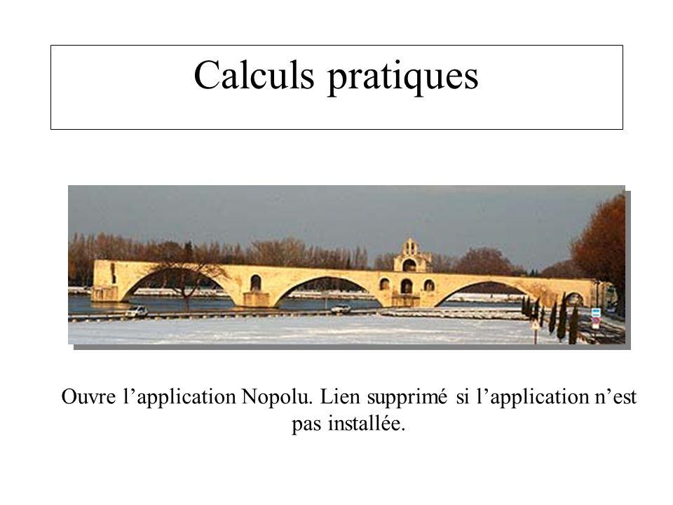 Calculs pratiques Ouvre l'application Nopolu. Lien supprimé si l'application n'est pas installée.