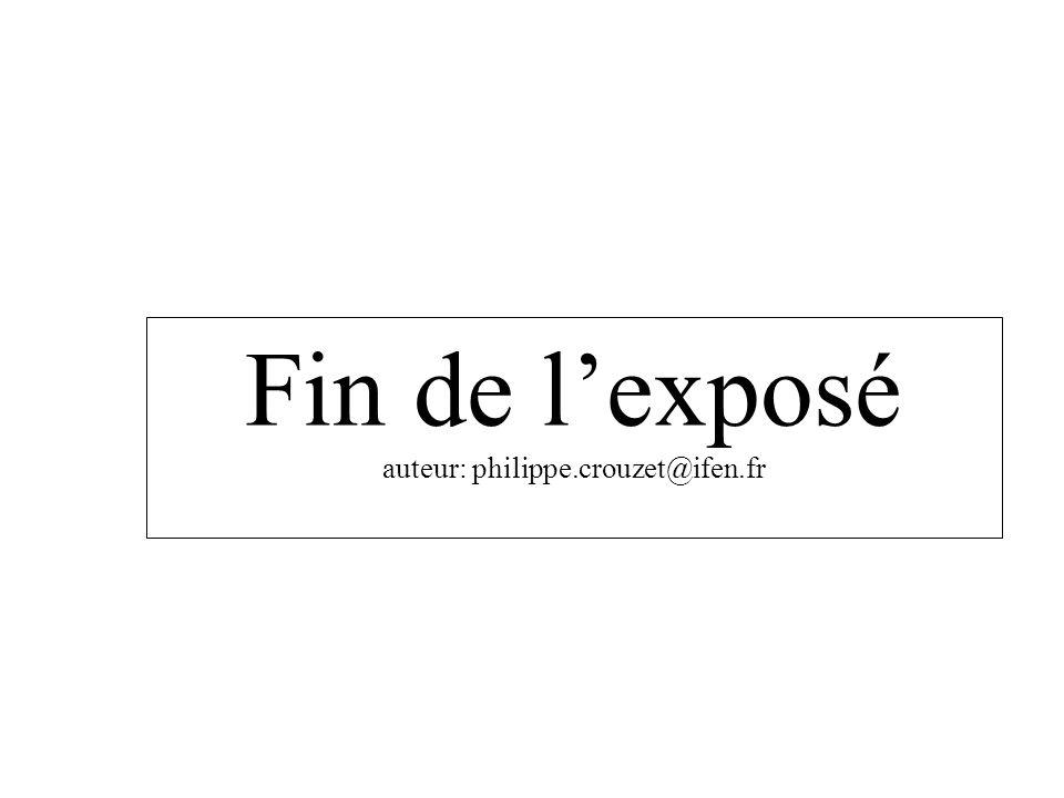 Fin de l'exposé auteur: philippe.crouzet@ifen.fr