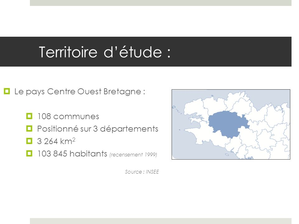 Territoire d'étude : Le pays Centre Ouest Bretagne : 108 communes