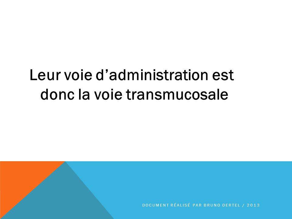 Leur voie d'administration est donc la voie transmucosale