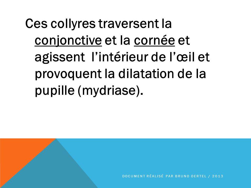 Ces collyres traversent la conjonctive et la cornée et agissent l'intérieur de l'œil et provoquent la dilatation de la pupille (mydriase).