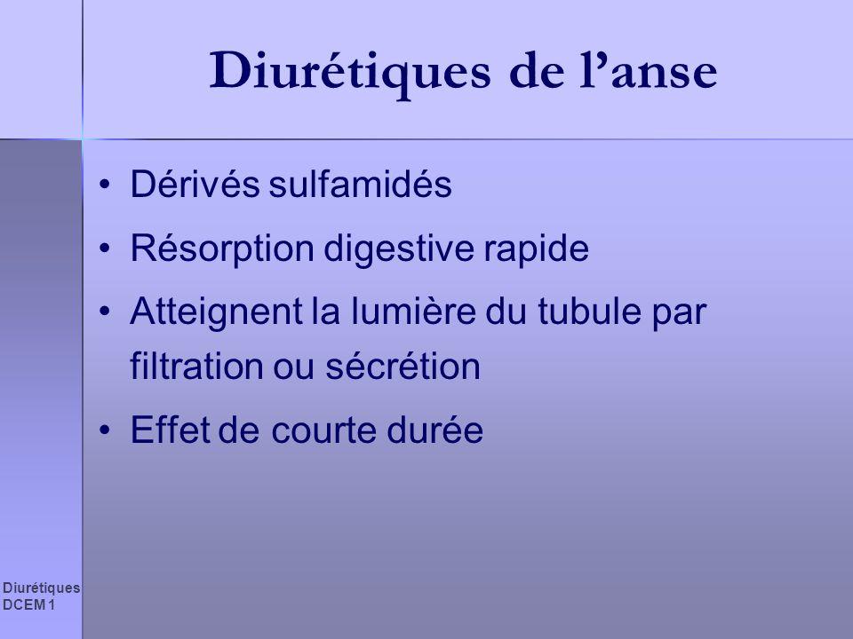 Diurétiques de l'anse Dérivés sulfamidés Résorption digestive rapide