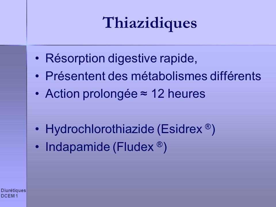 Thiazidiques Résorption digestive rapide,