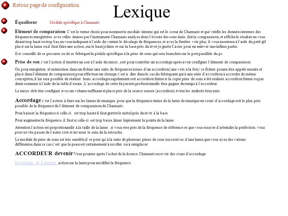 Lexique Retour page de configuration interne