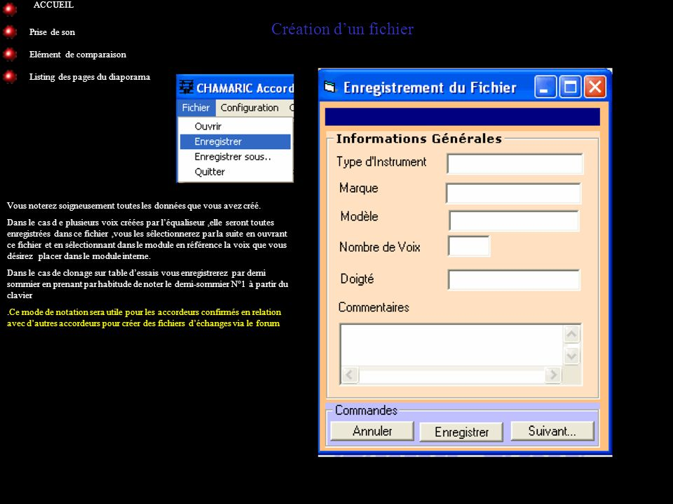 Création d'un fichier ACCUEIL Prise de son Elément de comparaison
