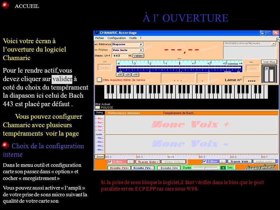 À l' OUVERTURE Voici votre écran à l'ouverture du logiciel Chamaric