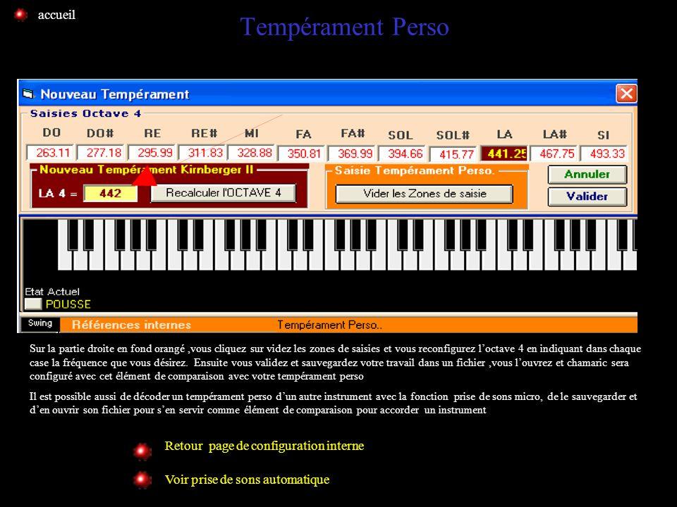 Tempérament Perso accueil Retour page de configuration interne