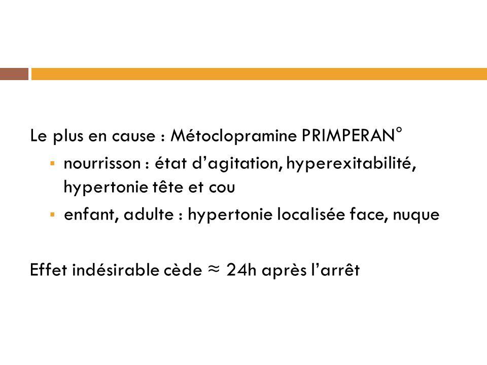 Le plus en cause : Métoclopramine PRIMPERAN°